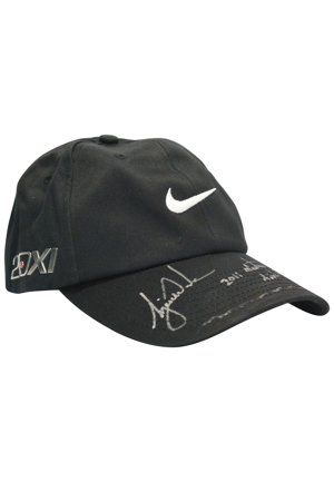 2011 Tiger Woods Masters Tournament-Worn & Autographed Caps (3)(Upper Deck COAs)