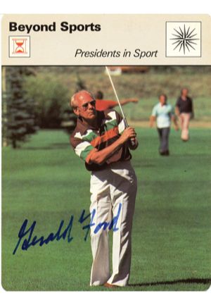 "Signed 1979 Gerald Ford ""Presidents in Sport"" Sportscaster Series 26 Card (JSA)"