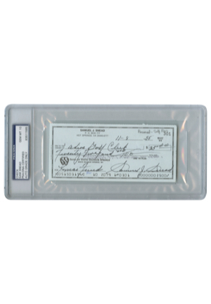 Encapsulated Sam Snead Signed Personal Check (JSA • PSA/DNA Graded GEM MT 10)