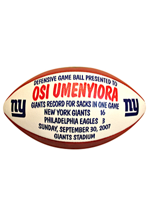 New York Giants Game-Used Presentation Footballs — 9/30/2007 Osi Umenyiora & 1/20/2008 Corey Webster (2)(Giants Record For Sacks In One Game • NFC Championship Game)