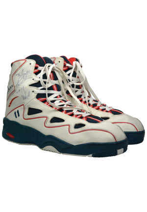 "1996 Karl Malone United States Mens Olympic Basketball ""Dream Team II"" Game-Used & Autographed Sneakers (JSA)"