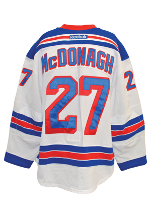 "11/23/2015-1/2/2016 Ryan McDonagh New York Rangers Game-Used Home Jersey & 2015-16 Game-Used Gloves (2)(Captains ""C"" • Steiner Sports LOA • Repairs)"