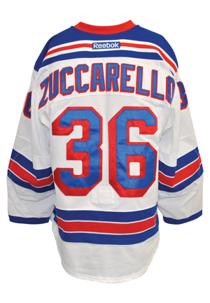 2015-16 Mats Zuccarello New York Rangers Game-Used Items — Two Road Jerseys & Bauer APX2 Gloves (3)(Steiner Sports LOAs)