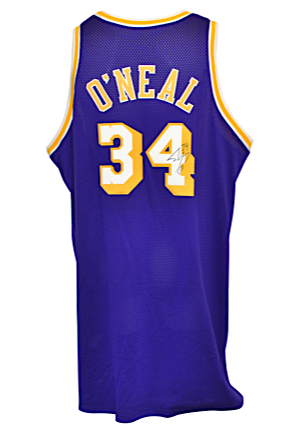1998-99 Shaquille ONeal Los Angeles Lakers Game-Used & Autographed Road Jersey (JSA • D.C. Sports LOA)