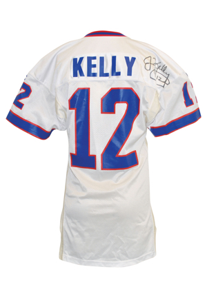 1994-95 Jim Kelly Buffalo Bills Game-Used & Autographed Road Jersey (JSA • Equipment Manager LOA)