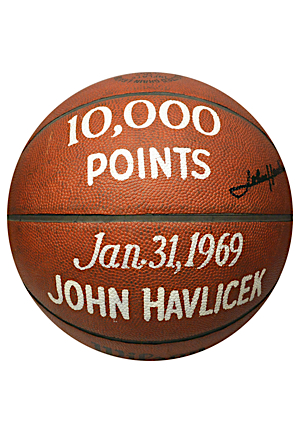 1/31/1969 John Havlicek Boston Celtics Actual 10,000th Career Point Scored Game-Used & Autographed Trophy Ball (JSA • Havlicek LOA)