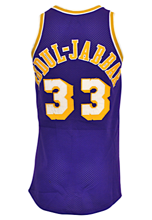 1985-86 Kareem Abdul-Jabbar Los Angeles Lakers Game-Used Road Jersey (Left On Team Bus • LOP From Bus Driver)