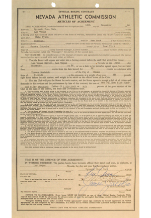 1986 Mike Tyson vs. Trevor Berbick WBC Heavyweight Title Fight Contract Signed By Tyson (Full JSA LOA • Tyson Becomes Youngest Ever Heavyweight Champion)