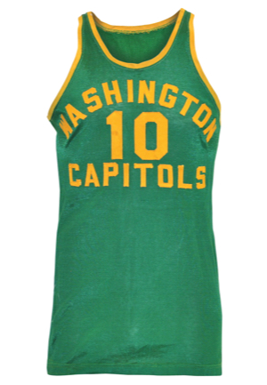 1950-51 Bill Sharman Rookie NBA Washington Capitols Game-Used Durene Road Jersey (Only Known Example • Graded A10)