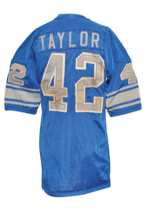 Circa 1973 Altie Taylor Detroit Lions Game-Used Home Durene Jersey