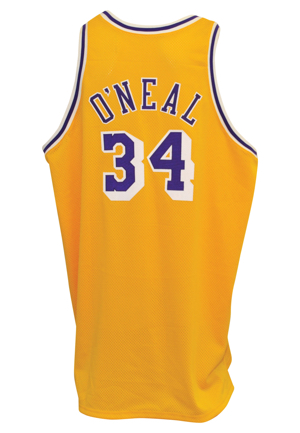 1997-98 Shaquille ONeal Los Angeles Lakers Game-Used & Autographed Home Jersey (JSA)