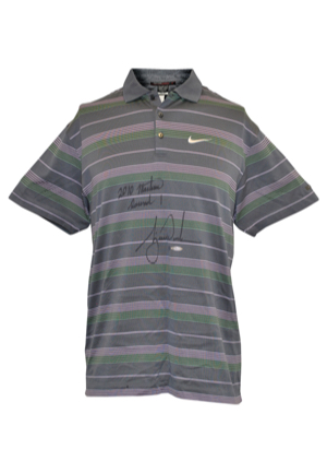 4/8/2010 Tiger Woods The Masters Tournament-Worn & Autographed Round 1 Thursday Polo (PSA/DNA • Upper Deck COA • Photo-Matched)