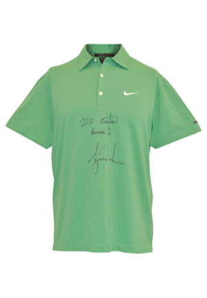 4/9/2010 Tiger Woods The Masters Tournament-Worn & Autographed Round 2 Friday Polo (PSA/DNA • Upper Deck COA • Photo-Matched)