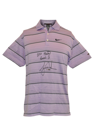 4/10/2010 Tiger Woods The Masters Tournament-Worn & Autographed Round 3 Saturday Polo (PSA/DNA • Upper Deck COA • Photo-Matched)