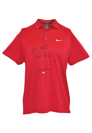 "4/11/2010 Tiger Woods The Masters Tournament-Worn & Autographed Round 4 ""Signature Sunday Red"" Polo (PSA/DNA • Upper Deck COA • Photo-Matched)"