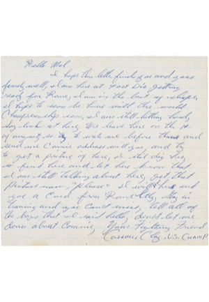 One-Of-A-Kind Pre-Olympic 8/1/1960 Cassius Clay Handwritten & Signed Letter (Full JSA LOA • PSA/DNA • Alis Direct Recipient LOA)