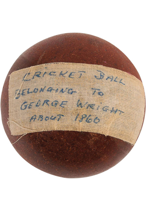 Circa 1860 George Wright Cricket Ball (Originated From The Wright Family • Lelands Documentation)