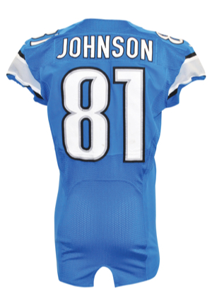"11/22/2012 Calvin ""Megatron"" Johnson Detroit Lions Thanksgiving Day Game-Used Home Jersey (Detroit Lions LOA • Photo-Matched • Career TD No. 54)"