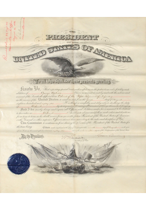 6/12/1879 Rutherford B. Hayes Signed Land Grant & 8/9/1886 Grover Cleveland Signed Appointment Document (2)(Full JSA LOAs)