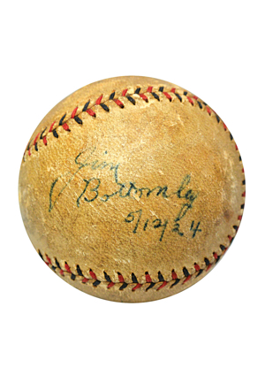 "5/12/1924 ""Sunny"" Jim Bottomley Single-Signed St. Louis Cardinals ONL Home Run Baseball (Full JSA LOA • Exceedingly Rare • Career HR No. 16)"