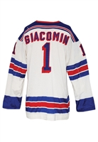 Early 1970s Eddie Giacomin New York Rangers Retail Authentic Durene Jersey