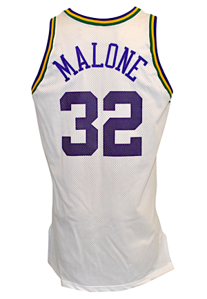1995-96 Karl Malone Utah Jazz Game-Used Home Jersey
