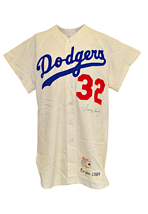 1964 Sandy Koufax Los Angeles Dodgers Game-Used & Autographed Home Flannel Jersey (Full JSA • Originally Sourced From Koufax • Magnificent All-Original Condition)