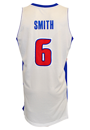 2013-14 Josh Smith Detroit Pistons Game-Used Home Jersey