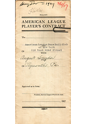 1927 August Snyder New York Yankees Player Contract (JSA)