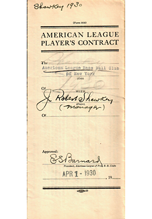 1930 Bob Shawkey New York Yankees Manager Contract (JSA)