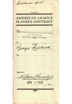 1932 George Selkirk New York Yankees Player Contract (JSA • Player Who Wore No. 3 After Ruth)
