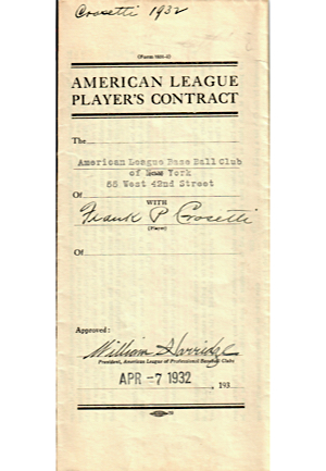 1932 Frank Crosetti New York Yankees Rookie Player Contract (JSA)