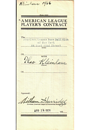 "1936 Theo Kleinhans, Roy Johnson, & Edward ""Ed"" Levy New York Yankees Player Contracts & Agreements (3)(JSA)"