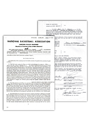 "1977 ""Pistol"" Pete Maravich New Orleans Jazz NBA Uniform Player Contract (Rare Peter Maravich Variance)"