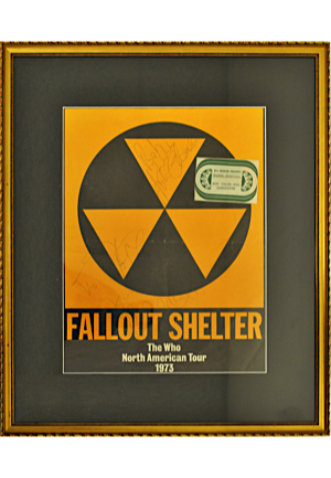 "1973 ""The Who"" ""Fallout Shelter"" North American Tour Autographed Framed On Site Poster With Guest Seating Pass (JSA)"