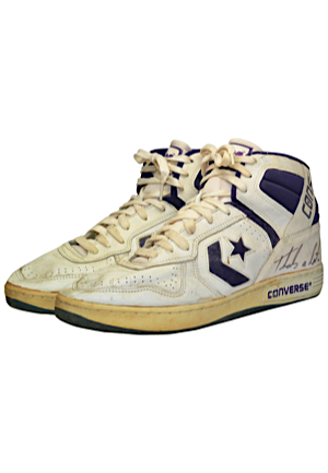 Karl Malone Utah Jazz Game-Used & Dual Autographed Sneakers (JSA • Sourced From Former NBA Ball Boy)