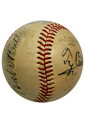 Incredibly Rare Babe Ruth & Ty Cobb Dual Autographed Baseball Signed As Opposing Managers Of The 1945 Esquires All-America Game (PSA/DNA & Beckett LOAs • Direct Family Provenance • Very Rare)