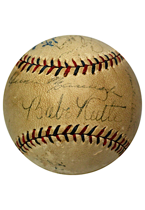 "1932 New York Yankees Partial Team-Signed World Series Baseball With Ruth, Gehrig & Other Hall of Fame Dignitaries (Full JSA LOA • ""Called Shot"" Championship Season)"