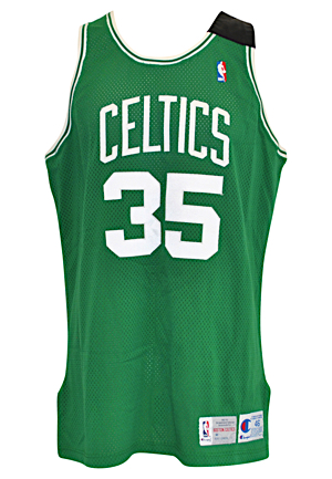 1992-93 Reggie Lewis Boston Celtics Game-Used Road Jersey (Johnny Most Memorial Band)