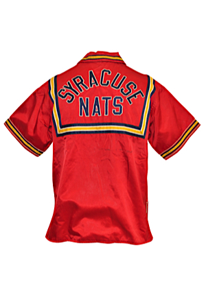 Mid 1950s Paul Seymour Syracuse Nationals Player-Worn Satin Warm-Up Jacket (Exceedingly Rare)