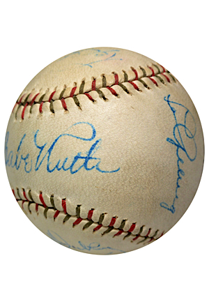 New York Yankees Hall of Famers & All-Time Greats Autographed Baseball Featuring Bold Ruth & Gehrig (Full JSA)