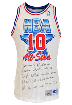1991-92 Dennis Rodman NBA All-Star Game Eastern Conference Game-Used & Autographed Uniform (2)(JSA • PSA/DNA • Rodman LOA • Photo-Matched • Graded A10)