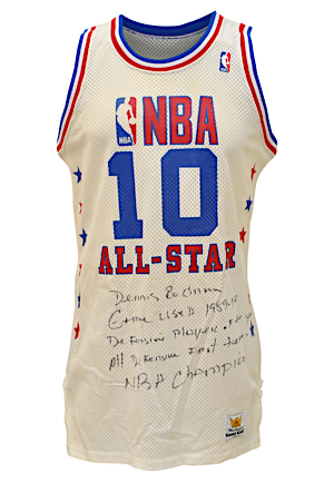 1989-90 Dennis Rodman NBA All-Star Game Eastern Conference Game-Used & Autographed Uniform (2)(JSA • PSA/DNA • Rodman LOA • Photo-Matched • Graded A10)