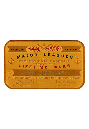 Major League Baseball Lifetime Pass Presented To Red Schoendienst