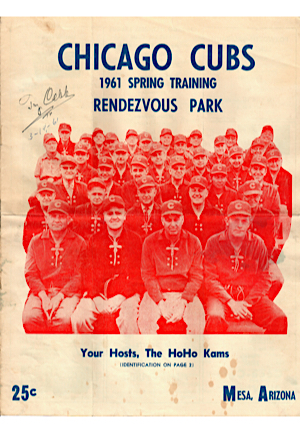 1961 Ty Cobb Autographed & Inscribed Chicago Cubs Spring Training Program (JSA)