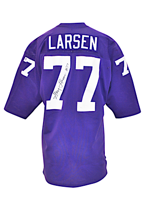 "Circa 1973 Gary Larsen Minnesota Vikings Game-Used & Autographed Home Jersey (JSA • ""Purple People Eaters"" • Pounded With Repairs • Photo-Matched • Graded 8)"