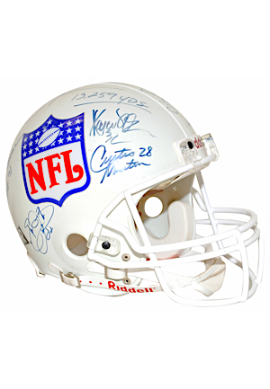 NFL 10,000 Yard Rushers Multi-Signed Replica Helmet Including Sanders, Dickerson, Harris & Many More (Full JSA)