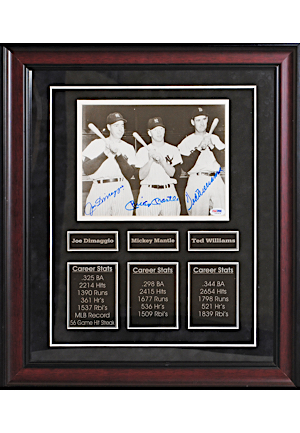 Joe DiMaggio, Mickey Mantle & Ted Williams Autographed 19x22 Framed Display Piece (JSA • PSA/DNA)