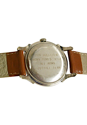"1957 Army Times ""All-Army"" Football Team Watch Presented To Don Holleder & 1955 Army vs Navy Official Program & Game Ticket (3)(Rare Piece Of Army Legends Collection)"