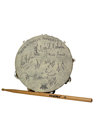 """World Classic Rockers"" Played & Autographed Tambourine Including Nick St. Nicholas & Rosilee & Used Drumstick (2)(JSA)"